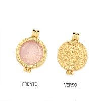Pendant Semi Jewelry Gold Plated Saint Benedict with Natural Stone Pink Quartz