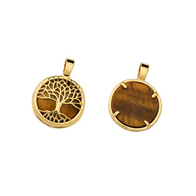 Pendant Semi Jewelry Gold Leaf Tree of Life with Natural Stone Tiger\'s Eye