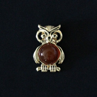 Pendant Semi Jewelry Gold Plated Owl with Natural Stone Red Agate