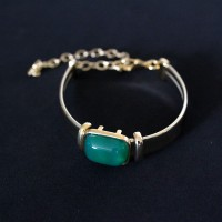 Semi-Gold Semi-Gold Plated Bracelet with Natural Stone Agate 18cm + Extender 10cm