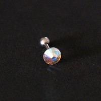 Piercing Tragus Steel Surgical 316L Stone Zirconia Furtacor 1,2mm x 6mm