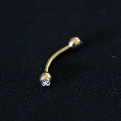 Piercing Eyebrow Curved Microbell 24k Yellow Gold Plated Sphere with 2 Zirconia Stones 1,2mm x 8mm