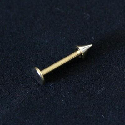 Piercing Labret Chin Spike Yellow Gold Plated 24k 1,2mm x 8mm