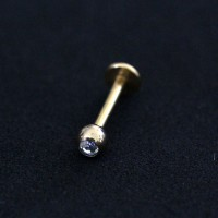Labret Piercing Chin Sphere with 1 Stone Zirconia Gold Plated 24k Yellow 1.2mm x 8mm