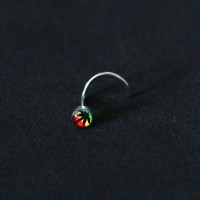 Piercing Nose Logo Flower Color Jamaica Nostril Steel Surgical 316L 0,6mm x 7mm