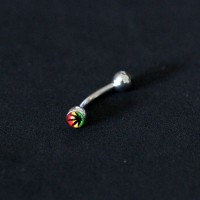 Piercing Steel Surgical 316L Curved Microbell Eyebrow with Logo Flower Color Jamaica 1,2mm x 8mm