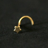 Nose Piercing 18k Gold Plated Star Nostril piercing 0.5mm x 7mm