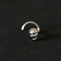 Nose Piercing Nostril Skull 316L surgical steel 0.5mm x 7mm