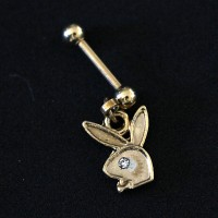 Piercing Tragus Rabbit Playboy Pendulum Gold Plated Yellow Gold 24k 1,2mm x 7mm