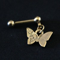 Piercing Tragus Butterfly Pendulum Gold Plated Yellow Gold 24k 1,2mm x 7mm