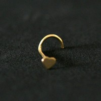 Nose Piercing 18k Gold Plated Heart Nostril piercing 0.5mm x 7mm
