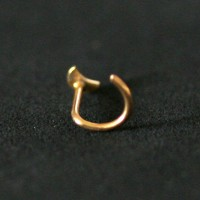 Nose Piercing 18k Gold Plated Nostril piercing 0.5mm x 7mm Moon