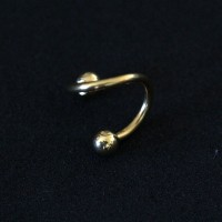 Twister Piercing Sphere Yellow Gold Plated 24k 1,2mm x 8mm