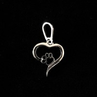 925 Silver Heart Pendant with Paw