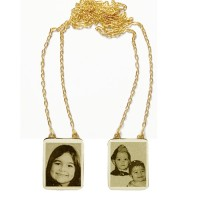 Scapular Gold 18k 0750 with photo engraved / Photoengraving 60cm - 15.8mm x 19.8mm