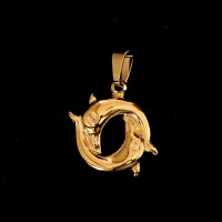 Semi Jeweled Gold Plated Dolphins Pendant