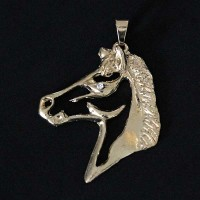 Semi Pendant Jewelry Gold Plated Horse with Zirconia Stone