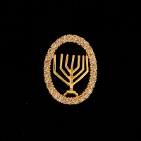 Semi-Jeweled Pendant Gold Plated Jewish Candelabrum with Zirconia Stone