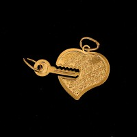 Semi Jeweled Gold Plated Heart Pendant with Key