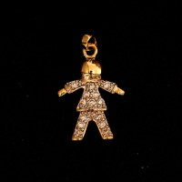 Semi Jewelry Pendant Gold Plated Boy with Zirconia Stones