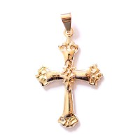 Semi Jeweled Gold Plated Cross Pendant
