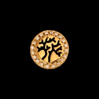 Semi Jeweled Gold Plated Tree of Life Pendant