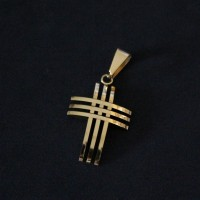 Stainless Steel Pendant Cross Gold Plated