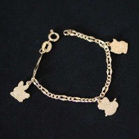 Children's bracelet Semi Jewelry Gold Plated Rabbit Sheep and Cat 14cm / 1.0mm