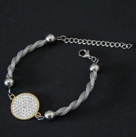 Gold Plated Surgical Steel Bracelet with 18ct Satin Zirconia