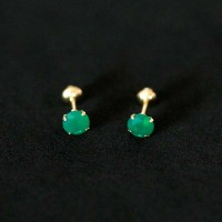Gold Earring 18k 0750 with Zirconia Green Stone