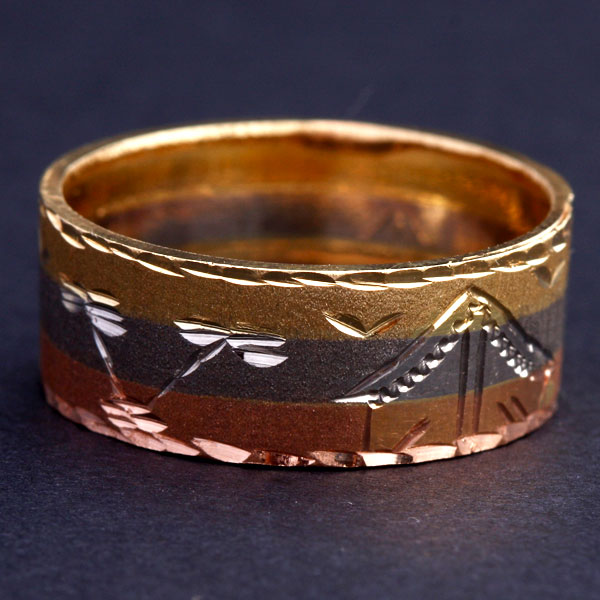 Ring Yellow Gold, Red Gold and White Gold Slave with Design Egyptian
