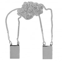 Scapular Steel Necklace with photo engraved / Photo-etching with 2 pendants 9 mm x 13 mm