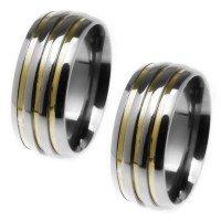 Alliance anatomical 8mm stainless steel with three gold fillets