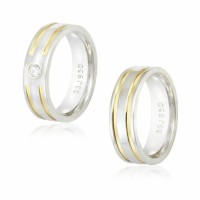 Comfort Straight Alliance Silver 6mm with 2 Fillets Gold / Reta 6mm Silver Alliance with 2 interrupted wires and with Zirconia Stone 3mm