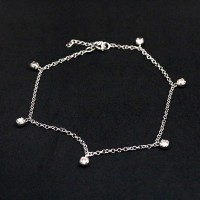 Silver 925 Portuguese Anklet with Zirconia Stone 26cm
