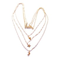 Gold Plated Semi Jewel Choker Necklace with Pendants Seahorse Starfish and Shell 50cm