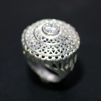 Ring Silver 925 Hat Hollow 1 Stone Zirconia