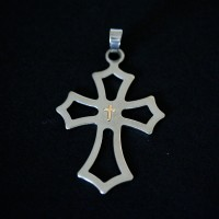 Leaked Steel Cross Pendant with Gold
