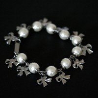 Portuguese Steel Bracelet with Pearl and Ribbon