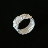 925 Silver Ring with Twisted Wire and Butterfly