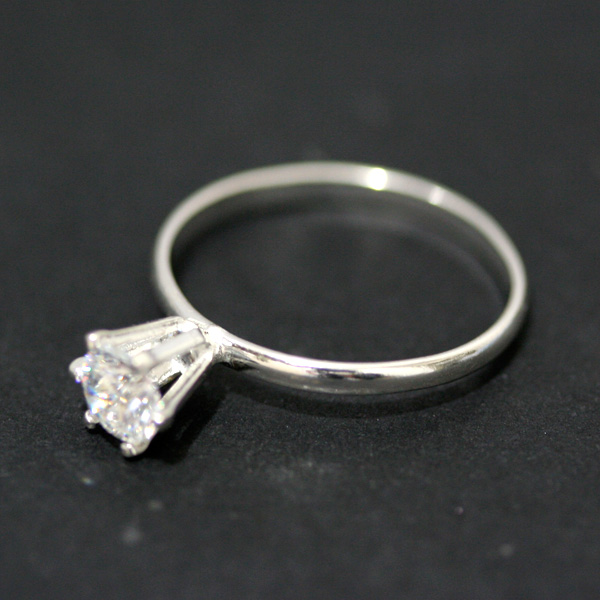 Ring of Silver 925 with Lone Rock of Zirconia