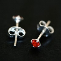 925 Silver Earring with Stone Zirconia Red