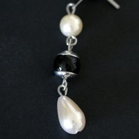 Pearl Earring Steel and Stone Murano