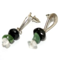 Earring with Stone Tourmaline, Green Quartz and Crystal