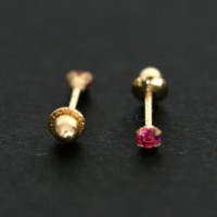 18k Gold Earring with Red Stone Zirconia