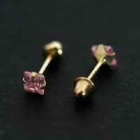 18k Gold Earring with Pink Stone Zirconia