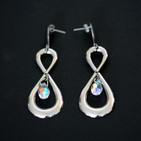 Infinity Steel Earring with Crystal Stone