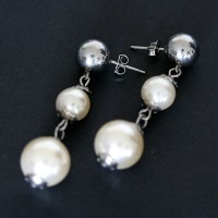 Pearl Earring Steel with Glass