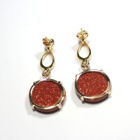 Semi Earring Gold Plated Jewelry with Natural Stone from the Sun