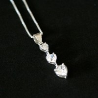Chain 925 Silver Pendant with three Hearts with Zirconia Stones
